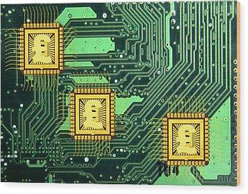 Microchip Sales, Conceptual Image Wood Print by Victor De Schwanberg
