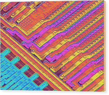 Microchip Surface, Sem Wood Print by Power And Syred