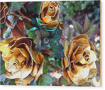 Midas Touch Duck Tape Roses Wood Print by Laura  Grisham
