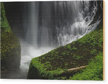 Middle North Falls Closeup Wood Print by Ken Dietz