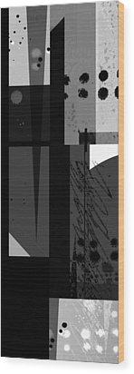 Midnight In The City 3 Triptych Wood Print by Ann Powell