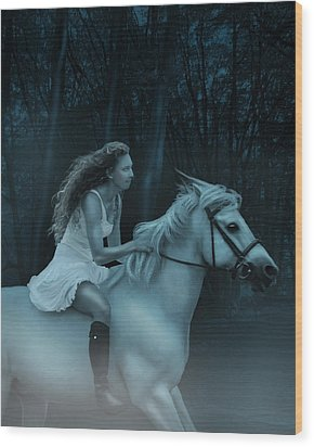 Wood Print featuring the photograph Midnight Ride Through The Forest by Ethiriel  Photography