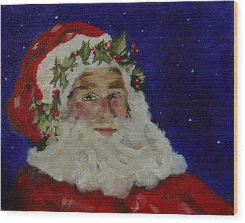 Midnight Santa Wood Print
