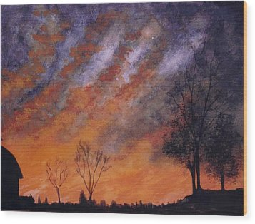 Wood Print featuring the painting Midwest Sunset by Stacy C Bottoms