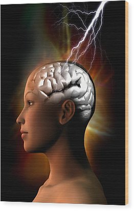 Migraine, Conceptual Artwork Wood Print by Victor Habbick Visions