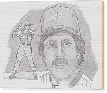 Wood Print featuring the drawing Mike Schmidt by Chris  DelVecchio