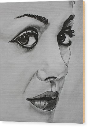Wood Print featuring the drawing Mila by Michael Cross