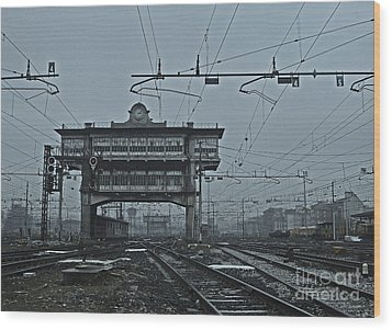 Wood Print featuring the photograph Milan Central Station Italy In The Fog by Andy Prendy