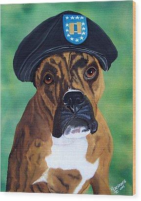 Military Boxer Wood Print by Debbie LaFrance