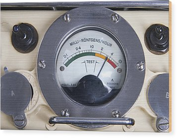 Military Radiation Meter Wood Print by Sheila Terry