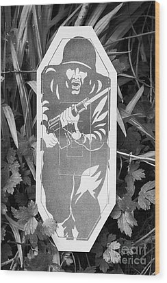 Military Type Paper Target Arranged For Shooting Practice Wood Print by Joe Fox