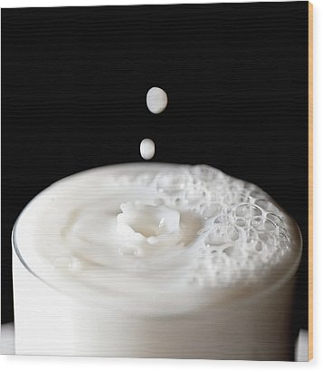 Milk Drops Falling In Glass Of Milk Wood Print by Peter Chadwick LRPS