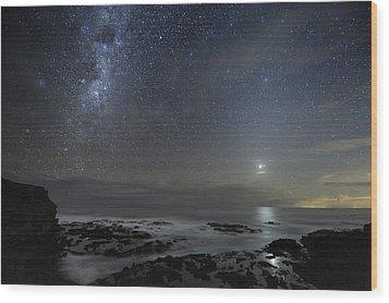 Milky Way Over Cape Schanck, Australia Wood Print by Alex Cherney, Terrastro.com