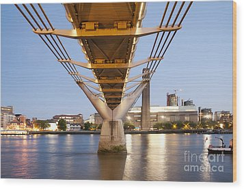 Millennium Bridge And Tate Modern At Twilight Wood Print by John Harper