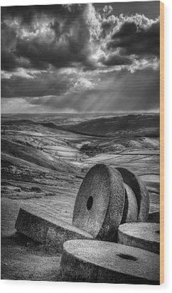 Millstones On The Moor Wood Print by Andy Astbury