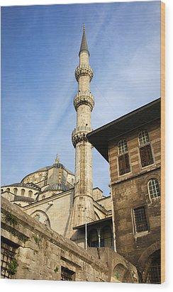 Minaret Of The Blue Mosque Wood Print by Artur Bogacki