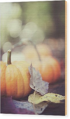 Mini Pumpkins With Leaves Wood Print by Samantha Wesselhoft Photography