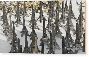 Miniature Eiffel Tower Souvenir. Paris. France Wood Print by Bernard Jaubert