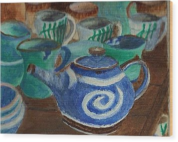 Wood Print featuring the painting Miniature Teapots And Cups by Christy Saunders Church