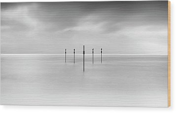 Minimal Posts Are Arranged Symmetrically In Sea Wood Print by Doug Chinnery