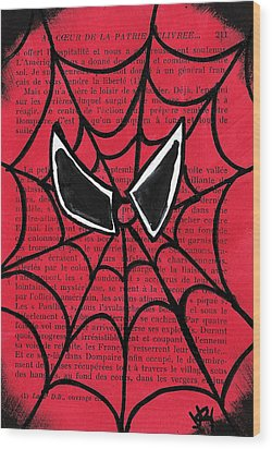 Minimal Spiderman Wood Print by Jera Sky