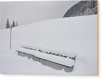 Minimalist Winter Landscape With Lots Of Snow Wood Print by Matthias Hauser