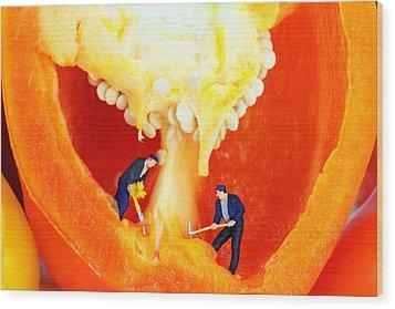 Mining In Colorful Peppers II Wood Print by Paul Ge
