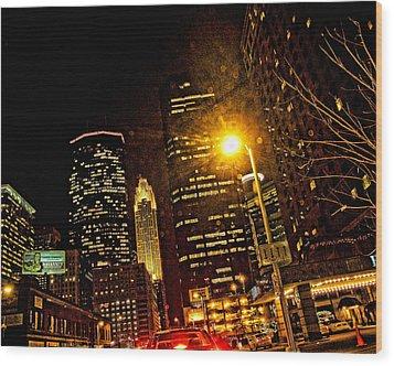 Minneapolis Night Lights Wood Print by Susan Stone