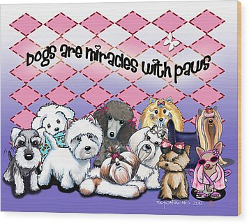 Miracles With Paws Wood Print by Catia Cho