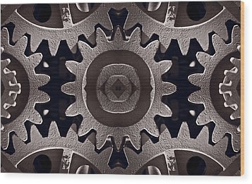 Mirror Gears Wood Print by Steve Gadomski