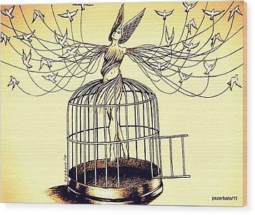 Mirror Of The Memory Of The Flight Wood Print by Paulo Zerbato
