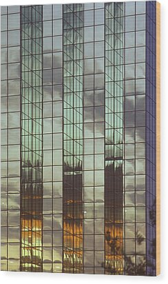 Mirrored Building Wood Print by Mark Greenberg