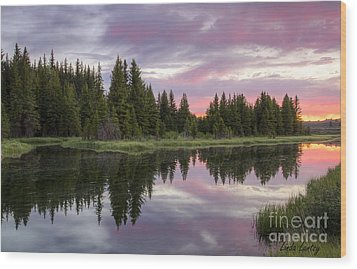 Mirrored Dawn Wood Print by Idaho Scenic Images Linda Lantzy