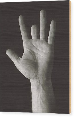 Missing Middle Finger Wood Print by Alan Sirulnikoff