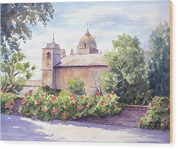 Wood Print featuring the painting Mission At Carmel by Vikki Bouffard
