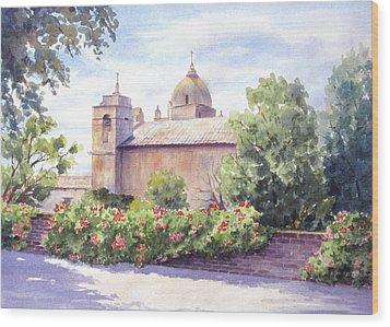 Mission At Carmel Wood Print by Vikki Bouffard