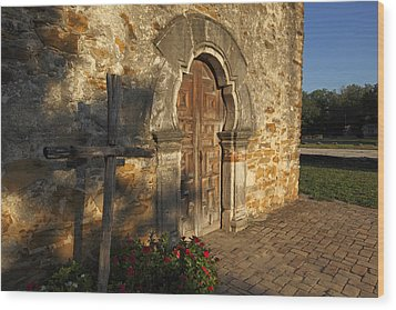 Wood Print featuring the photograph Mission Espada by Susan Rovira