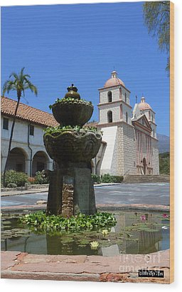 Mission Fountain Wood Print by Methune Hively