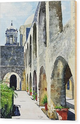 Wood Print featuring the painting Mission San Jose by Tom Riggs