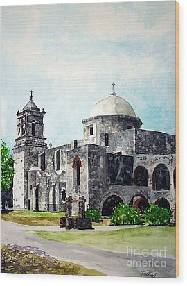 Wood Print featuring the painting Mission San Jose Two by Tom Riggs