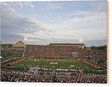 Missouri Memorial Stadium On Game Day Wood Print by Replay Photos