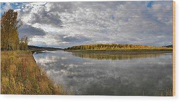 Missouri River Autumn Panoramic Wood Print by Leland D Howard