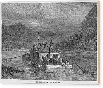 Missouri River: Flatboat Wood Print by Granger