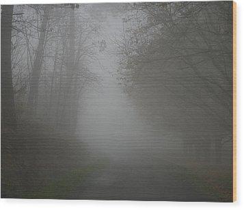 Mist Fog And The Road Wood Print by Georgia Fowler