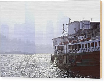 Mist Over Victoria Harbour Wood Print by Enrique Rueda