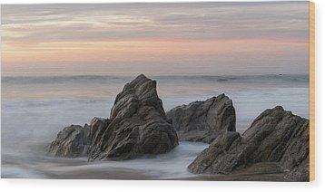 Mist Surrounding Rocks In The Ocean Wood Print by Keith Levit