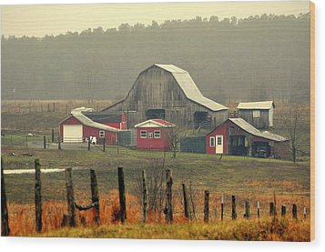 Misty Barn Wood Print by Marty Koch