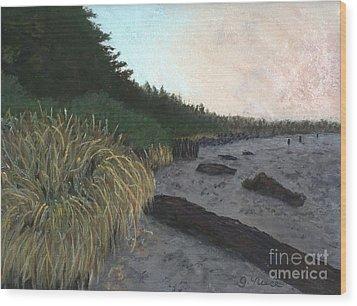 Misty Beach Wood Print by Ginny Neece