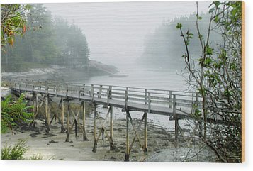 Misty Bridge Wood Print