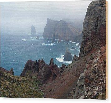 Misty Cliffs Wood Print by John Chatterley